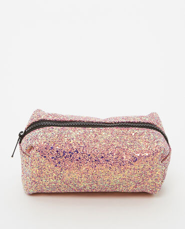 Trousse de maquillage glitter rose