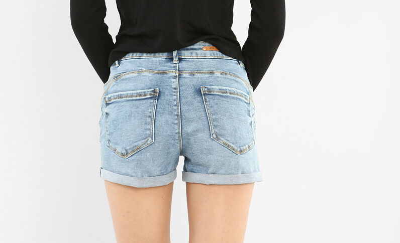 Push-up short denimblauw
