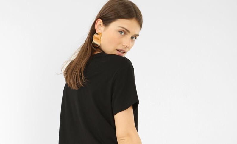 T-shirt cropped message 3D noir