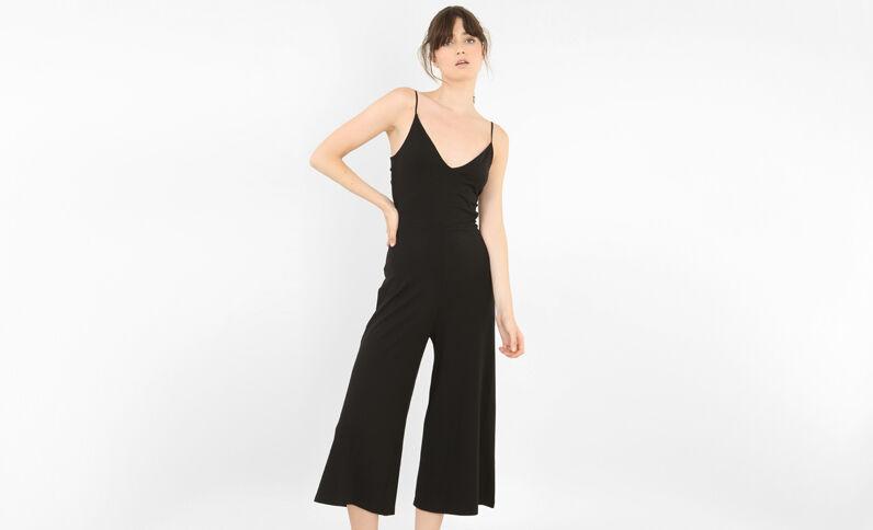 Jumpsuit met broekrok zwart