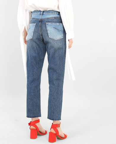 Tweekleurige mom jeans denimblauw