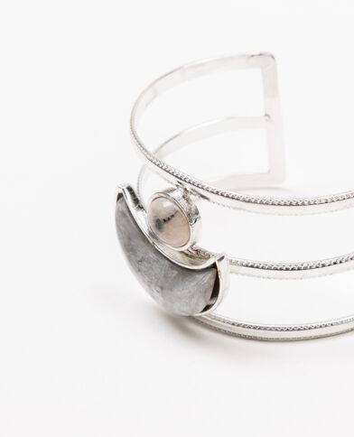 Bracelet manchette gris argenté