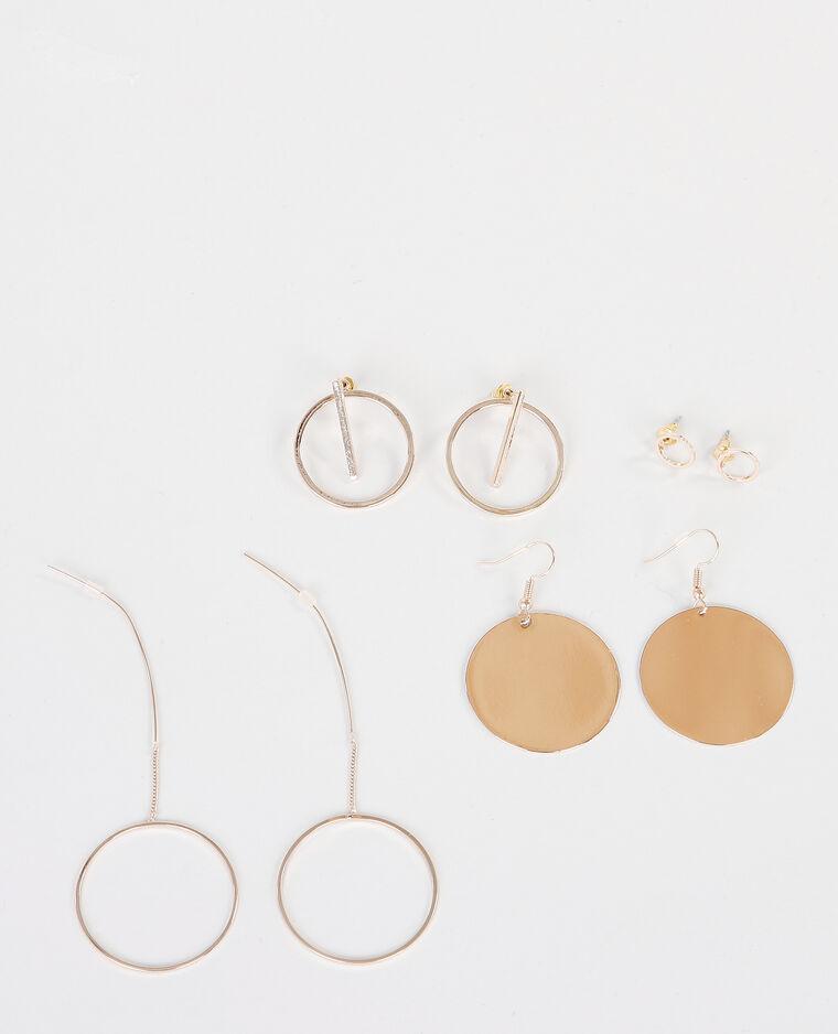Lot de boucles d'oreilles doré