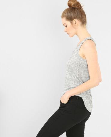 Camiseta de tirantes con cuello de estrás gris jaspeado