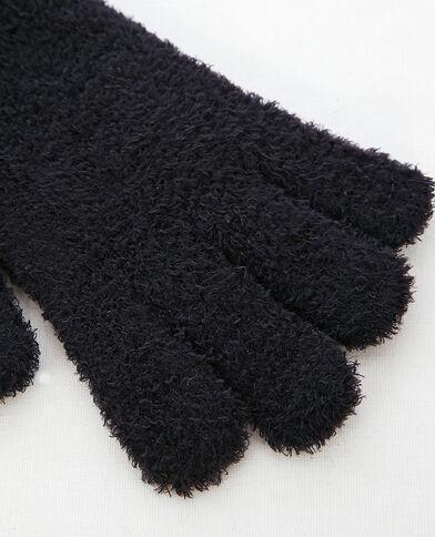 Flauschige Handschuhe Schwarz