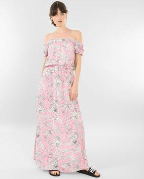 Robe longue à col bardot rose