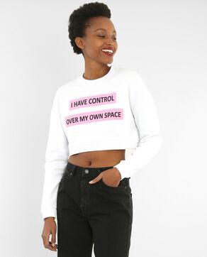 Cropped-Sweatshirt mit Schriftzug Weiß