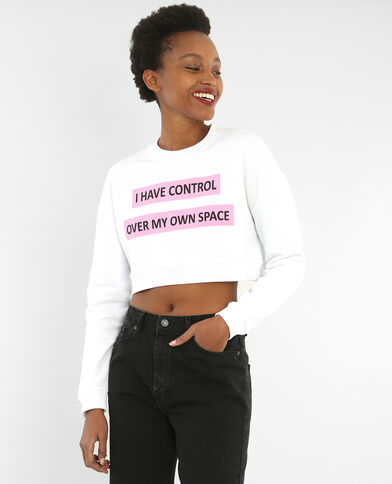 Cropped sweater met tekst wit