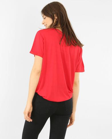 T-shirt oversize à poche rivetée rouge