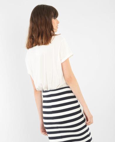 Camiseta larga básica marfil