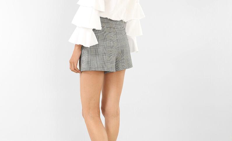 Shorts mit Glencheck-Muster Grau