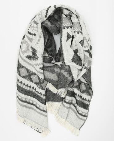 Echarpe plaid motifs géométriques gris