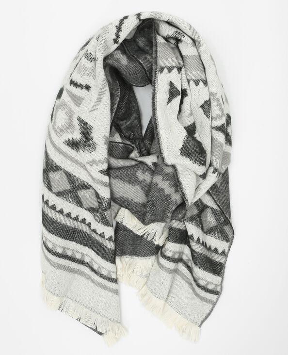 Bufanda manta geométrica gris