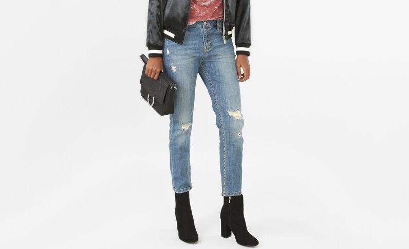 Relax fit Jeans mit hoher Taille und Destroy-Effekt Denimblau