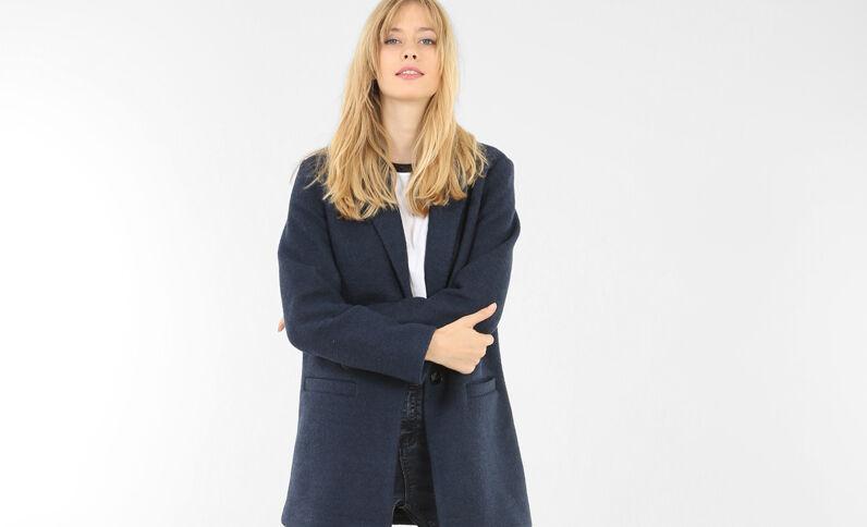 Blazer largo paño de lana azul marino