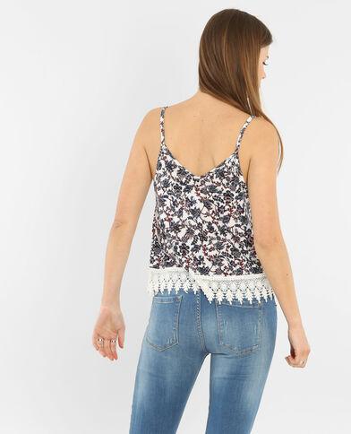 Camiseta de tirantes con encaje en la parte inferior marfil