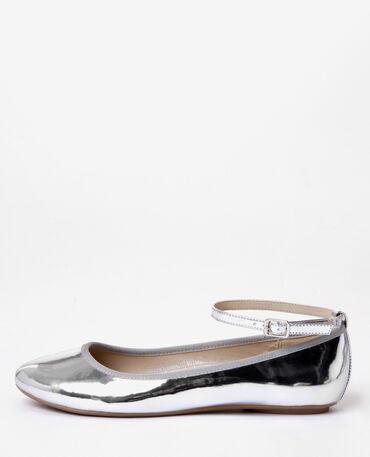Ballerine vernice argentate grigio paillettato