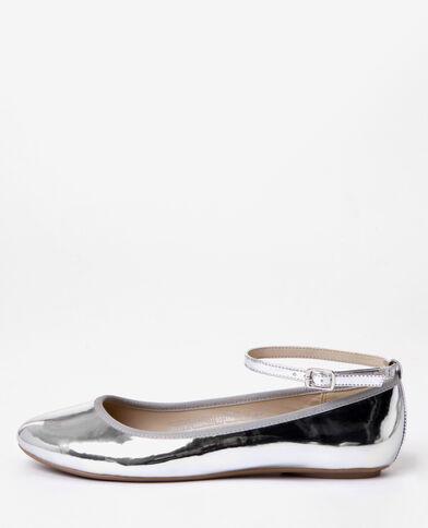 Zilverkleurige gelakte ballerina's zilvergrijs