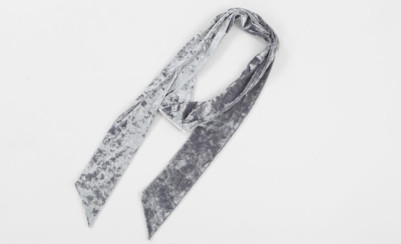 Foulard cravate velours gris