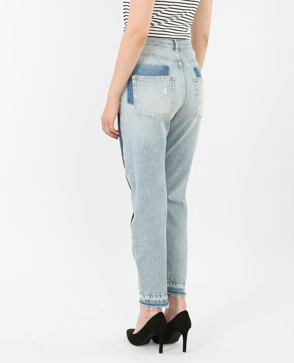 Mom-Jeans mit Patches Denimblau