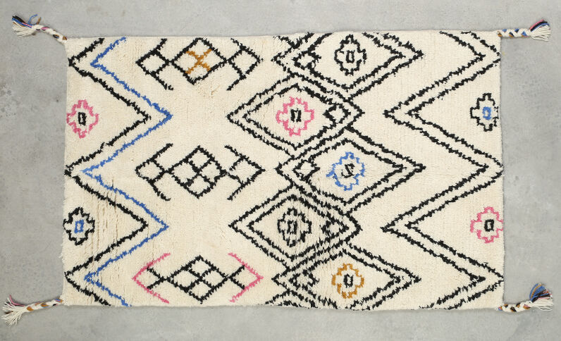 Alfombra estilo bereber multicolor crudo