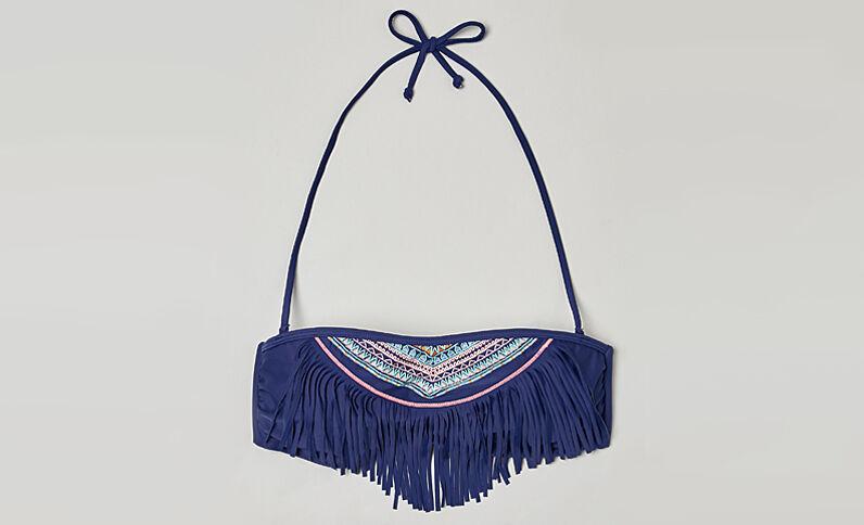 Bandeau étnico con flecos Azul