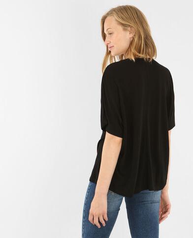 T-shirt col V imprimé noir