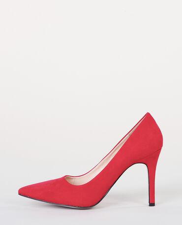 Zapatos de tacón de microfibra teja