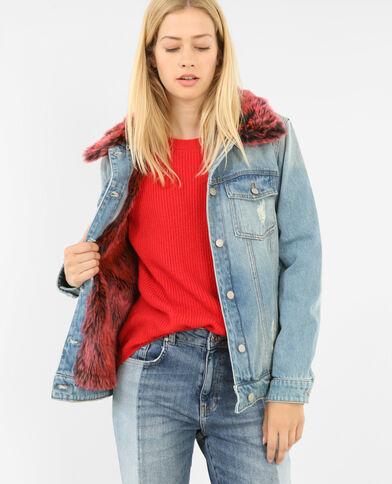 Jeansjack met print blauw