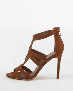 Sandalen met hak kastanjebruin