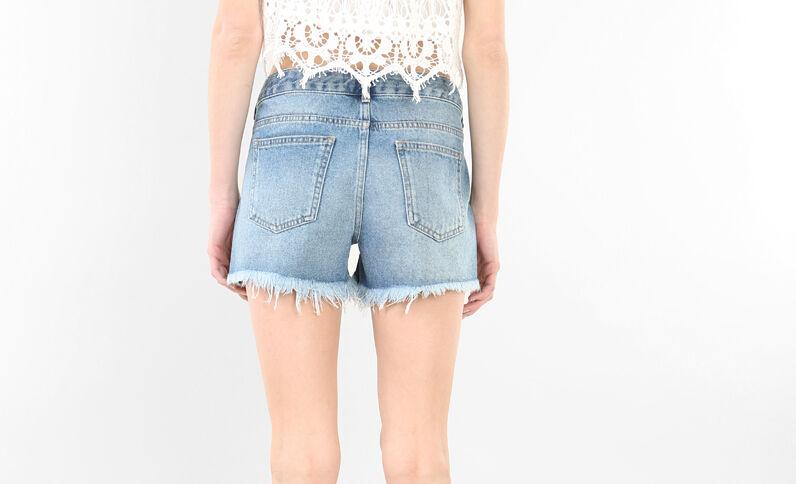 Bestickte Jeans-Shorts Blau