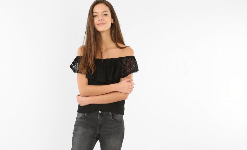 Top épaules dénudées dentelle noir