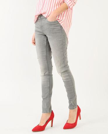 Skinny-Hose im Destroyed-Look Grau