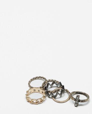 Set Ringe im Grunge-Stil Gold