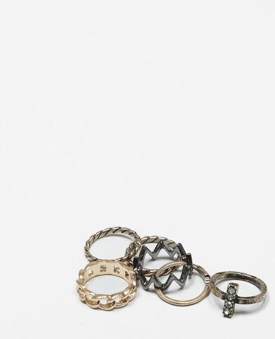Set met grunge-ringen goudkleurig