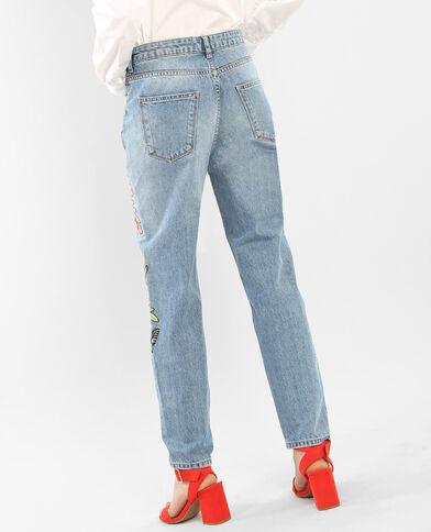 Jeans mom bordados azul vaquero