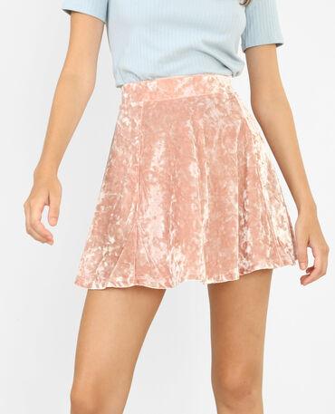 Minigonna da pattinatrice effetto velluto rosa