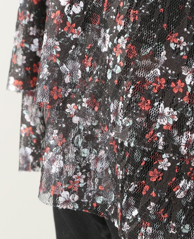 Top  résille fleurie noir