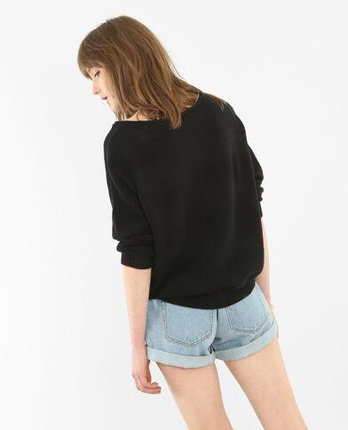 Pullover aus Mustermix Schwarz