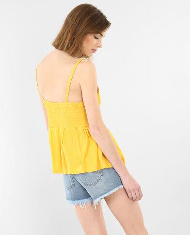 Top en crochet jaune