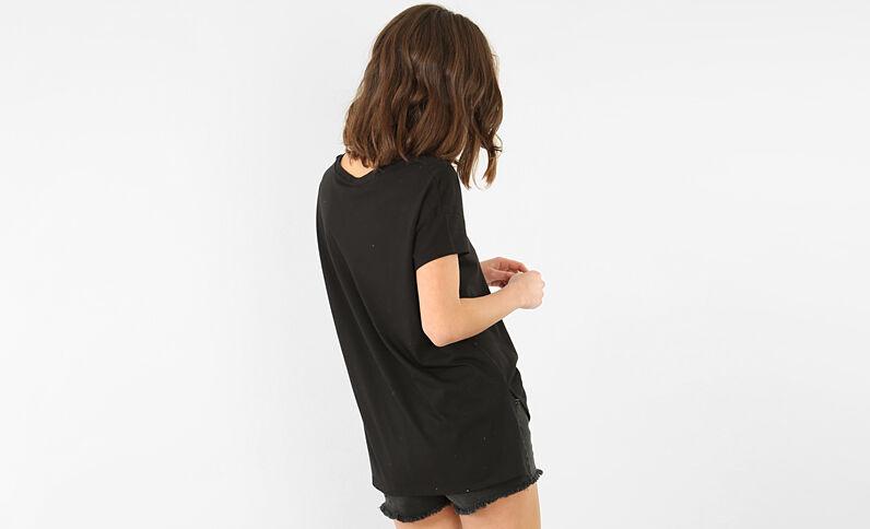 Besticktes T-Shirt Schwarz