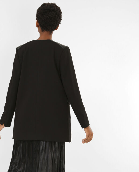 Summer coat de dos tejidos negro