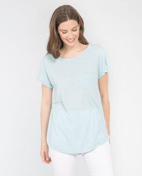 Einfaches T-Shirt mit Tasche Aquamarin