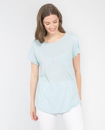 T-shirt basique à poche bleu aqua