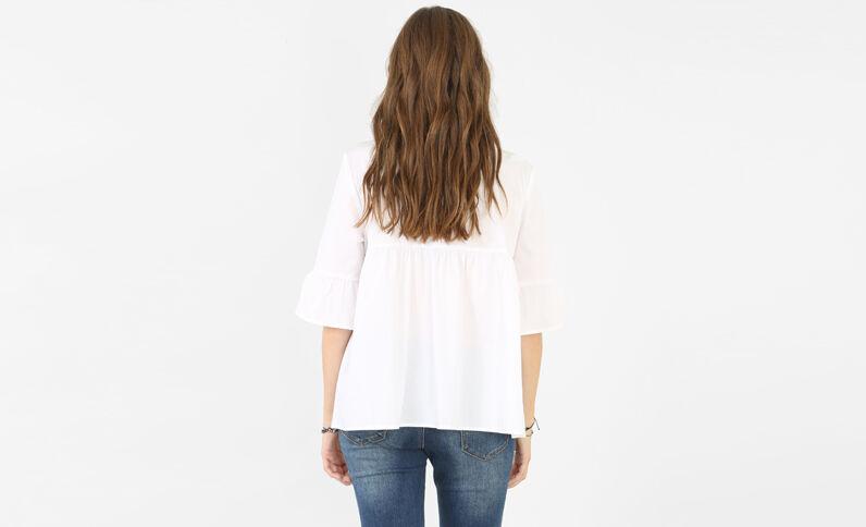 Peplum-Bluse Weiß
