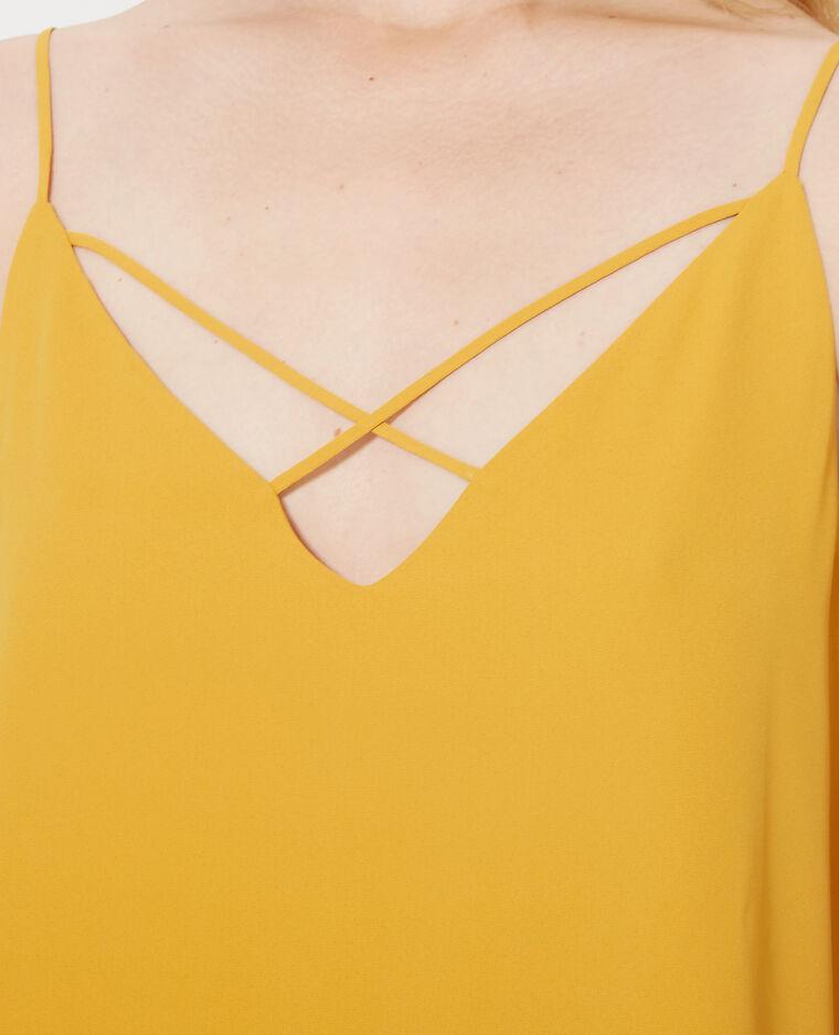Top fines bretelles croisées devant jaune moutarde