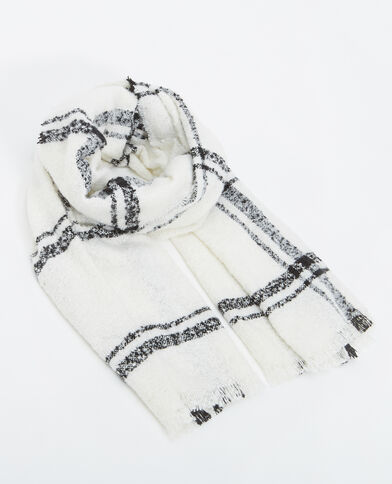 Grande sciarpa a quadri bianco sporco