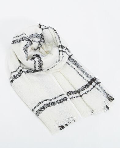 Großer Schal mit Karomuster Altweiß