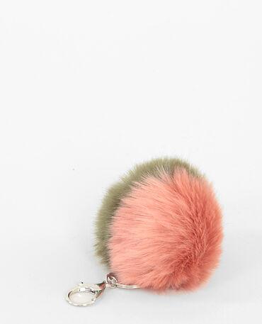 Portachiavi in pelliccia bicolore rosa