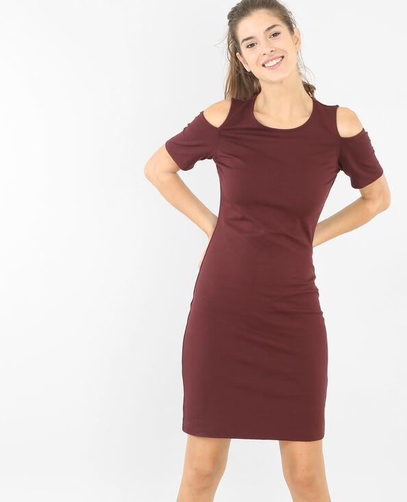 Kleid mit Peekaboo-Ärmeln Granatrot